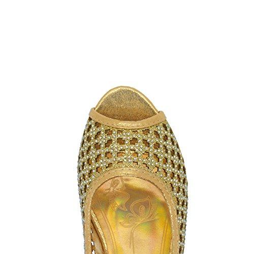 London Footwear - Zapatos con tacón mujer dorado
