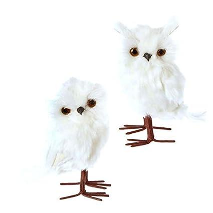 raz imports 6 standing white furry feathered owl christmas decoration ornament