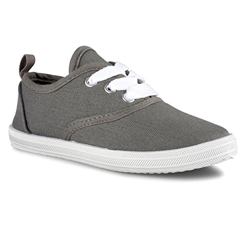 Sugar & Spice Girls Canvas Fashion Sneaker, Lace up, Breathable, Rubber Sole Grey]()