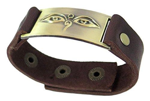 Buddha Eyes Bracelet, Leather, Adjustable