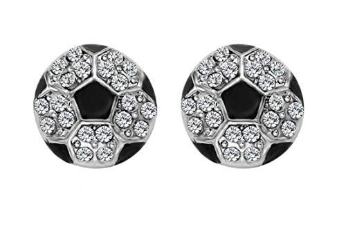 - aiyuyu Crystal World Cup Soccer Earrings Football Copa Premier Champions League Enamel Stud Post Silver Tone Black Football Crystal Rhinestones Stud Earrings