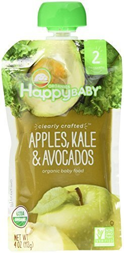 Happy Baby Organic Stage 2 Baby Food; Apples, Kale & Avocados - (Case of 16 - 4 oz) by HappyTots