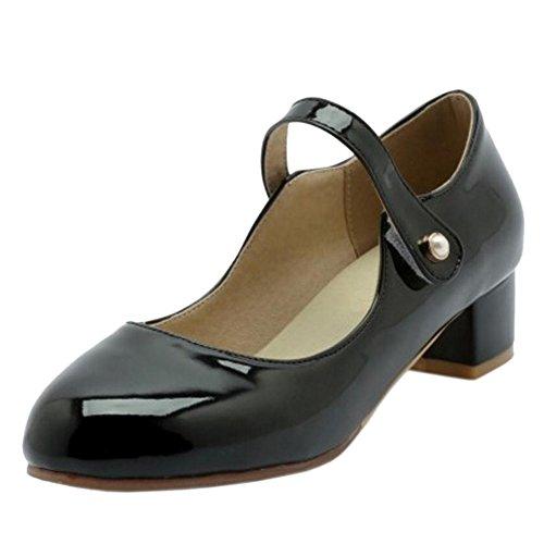 mujer COOLCEPT de Zapatos negro tacón con para tacón 10znS1