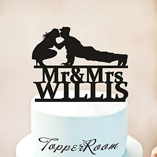 (Wedding Cake Topper,Military Wedding Cake Topper,Silhouette Military Groom & Bride, Officer, Uniform Cake Topper,Welcome Home Soldier (1128))