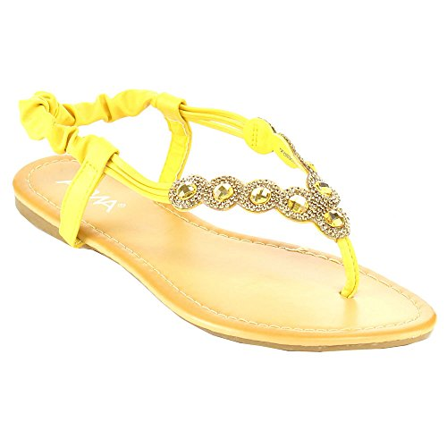 ANNA PENSEE-3 Women's Rhinestone Studded Elastic Slingback Thong Flat Sandals, Color:YELLOW, Size:7