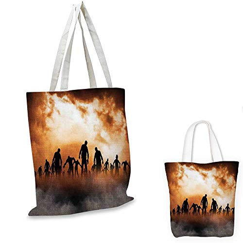 Halloween royal shopping bag Zombies Dead Men Walking Body in the Doom Mist at Night Sky Haunted Theme Print travel shopping bag Orange Black. -