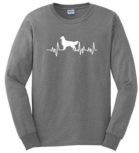Golden Retriever Rescue (Golden Retriever Rescue Mom Dad Golden Retriever Gifts Dog Lover Heartbeat Long Sleeve T-Shirt 3XL SpGry)