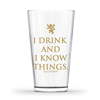 Game of Thrones I Drink & I Know Things Glass, 16 oz, Clear