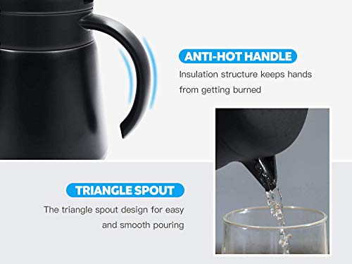Luvan 304 18/10 Stainless Steel Thermal Carafe/Double Walled Vacuum Insulated Coffee Pot with Press Button Top,24+ Hrs Heat&Cold Retention,BPA Free,for Coffee,Tea,Beverage etc (Black, 27 OZ) by Luvan (Image #3)