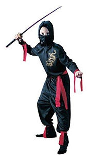 Amazon.com: Black Ninja Gold Dragon Red Ties Child Costume w ...