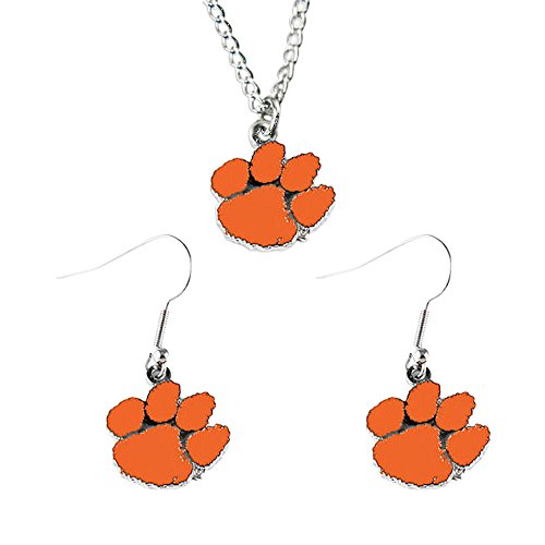 Clemson Tigers Sports Team Logo Necklace and Dangle Earring Charm Set NCAA ()