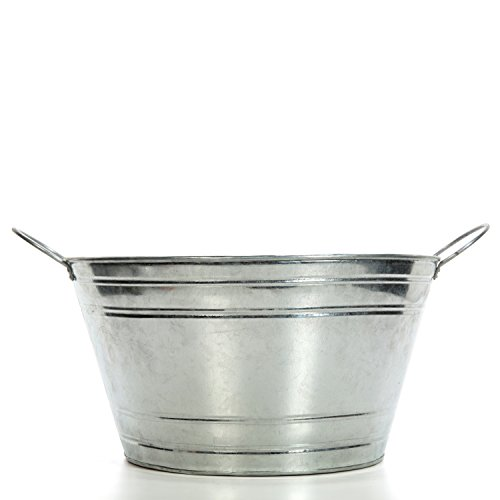 Galvanized Storage Cube - Hosley's Galvanized Beverage Tub with Handles. 17.75 Inch. Ideal for Gardens, Party, Storage, Water Pipe holder