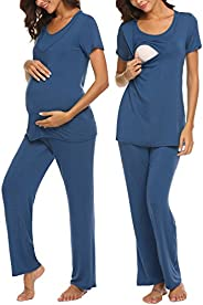 MAXMODA Women Soft Maternity Nursing Pajama Set Hospital PJS Set Pregnancy Breastfeeding Sleepwear S-XXL