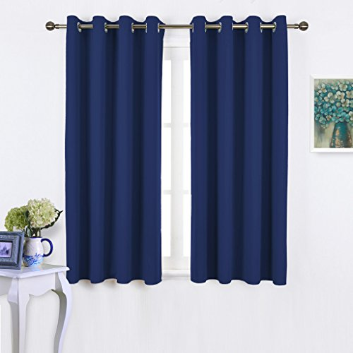 Nicetown Blackout Curtains and Drapes for Kitchen - Thermal Insulated Solid Grommet Top Blackout Panels / Draperies for Kid's Room (1 Pair, 52 x 63 Inch in Navy Blue)