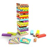 Wooden Tumbling Tower Toy- Colored Stacking Building Blocks with Animal Pictures, Card & Dice Party Game -Gift for 4 Year Old Kids & Toddlers Boys Girls