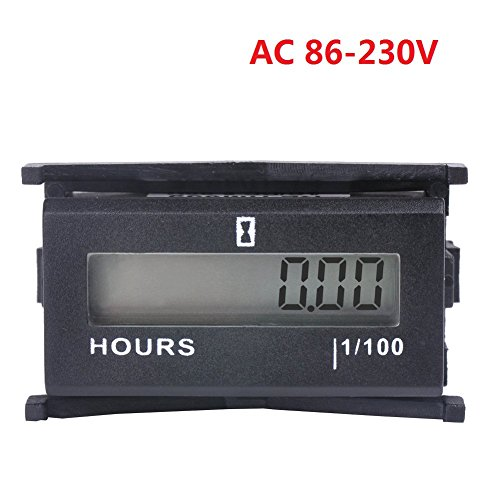 Digital Hour Meter AC86-230V - Searon Hourmeter with 1/100 Accracy for Riding Lawn Mower Garden Tractor Motocross Marine ATV Air Compressor