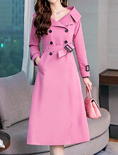 Collar Office Coat Jacket Pink Trench Turn RkBaoye Down OL Womens Button Belt x0qxw1pZR
