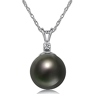 TARA Legacy Tahitian Cultured Pearl and .02cttw Diamond 14k Gold Pendant, 18