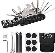 Harrianna Bike Repair Tool Kit,16 in 1 Multi-Function Bicycle Repair Tool with Storage Bag, 4 Tyre Levers, 6 P