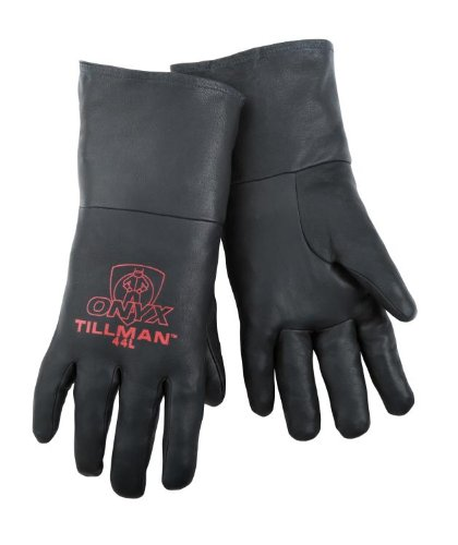 Tillman 44 ONYX 100% Top Grain Black Kidskin TIG Welding Gloves, Small