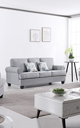 US Pride Furniture S5341-S Audrey Fabric Sofa Living Room, Light-Grey