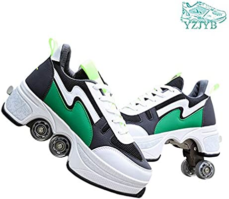 YZJYB Doble Fila Respirable Zapatos Casual Las Zapatillas De Deporte Roller Skates Paseo De Deformación Patines De Ruedas Patines De Cuatro Ruedas, Ideal para Principiantes,40: Amazon.es: Deportes y aire libre
