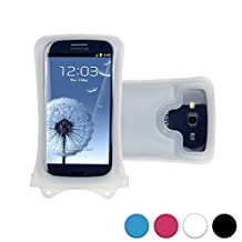 DiCAPac WP-C1 Universal Waterproof Case for Alcatel Pop C2/C3/C5/C7/D5/Icon/S3/S7/2 4.5 in White (Double Locking System; IPX8 Certified Underwater Protection; Super Clear Photo Lens)