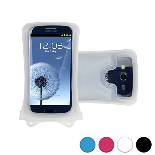 DiCAPac WP-C1 Universal Waterproof Case for Motorola Droid Maxx, Razr HD/Maxx HD, Turbo, Ultra in White (Double Velcro Locking System; IPX8 Certified Underwater Protection up to 10M; Built-in Airbag Floats & Protects Device; Super Clear Polycarbonate Photo Lens; Included Neck Strap) ()