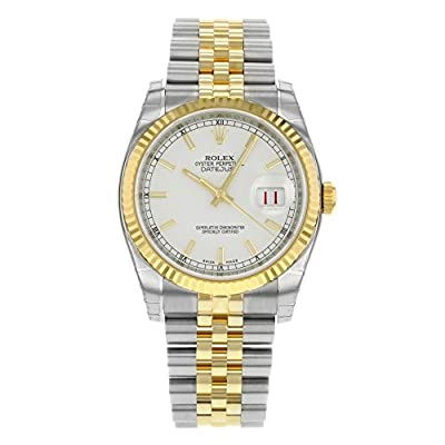 Rolex Datejust White Index Dial Jubilee Bracelet Fluted Bezel Two-tone Mens Watch 116233WSJ