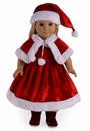 Santa Suit Christmas Dress Doll Clothes for 18  American Girl Dolls by sweet dolly