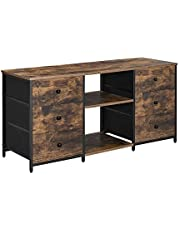 SONGMICS Industrial TV Stand, Entertainment Center, Rustic TV Cabinet with 6 Fabric Drawers, 2 Storage Shelves, Metal Frame, Wide Dresser, Rustic Brown and Black ULGS036B01