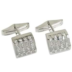 par de gemelos de plata regalos de papá de piedras preciosas circón