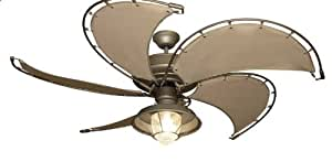 Raindance Nautical Ceiling Fan in Antique Bronze with Khaki Canvas Spring Frame Blades and Light