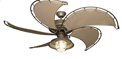 nautical ceiling fans lights raindance nautical ceiling fan in antique bronze with khaki canvas spring frame blades and light