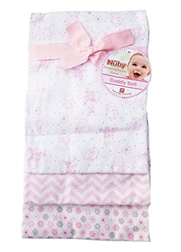 "Nuby Cotton Cuddly Soft Receiving Blankets Set/3 28"" x 28"" (Pink Lamb)"