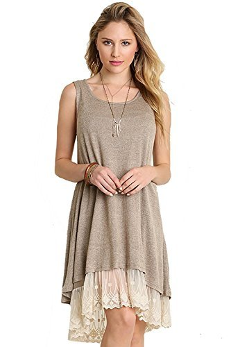 Umgee Oh Me Oh My! Sheer Knit Tank Dress Lined With Lace Trim Color, Mocha, Large