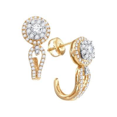 14kt Yellow Gold Womens Round Diamond J Half Hoop Cluster Earrings 3/4 Cttw from Diamond2Deal