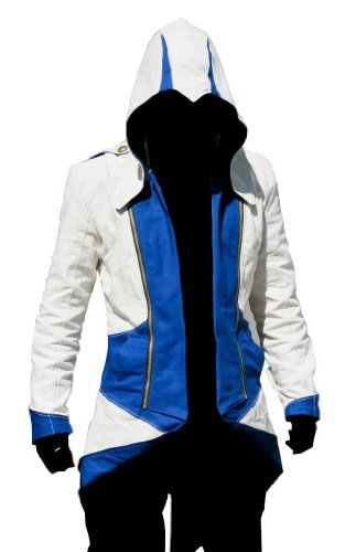C2MOON Assassin's Creed 3 Connor Kenway Hoodie Jacket Costume /Cosplay(Male-XLarge, White/Blue) (Assassin's Creed Uniform)