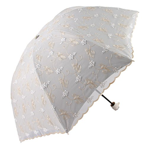 Honeystore Travel Sun Parasol Folding Brolly Anti-uv Sunshade Vintage Umbrella 3 Folding Yellow by Honeystore