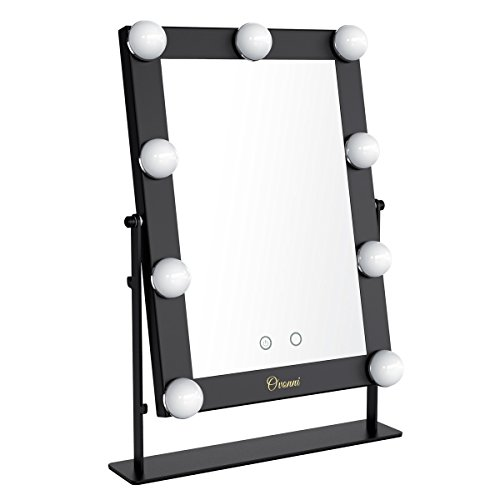 Ovonni Lighted Vanity Makeup Hollywood Mirror, Dimmable Tabletop Cosmetic Mirror with 9 LED Bulbs, Touch Control and USB Powered, Black