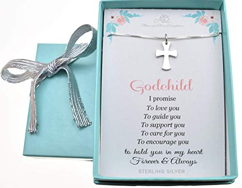 """Baby Boys or Girls Cross Necklace in Sterling Silver on a 14"""" Sterling Silver Box Chain with 2"""" extender, Gift for Godchild, Baptism gift, Baby Shower"""