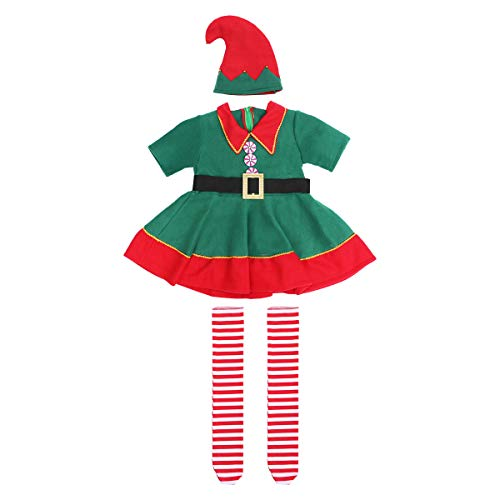 Christmas Costume Set Children's Green Elf Festival Costume Cosplay Parent-child Costume Suit for Girls - Size 120CM (Green) ()