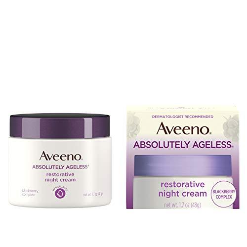 Aveeno Absolutely Ageless Restorative Night Cream Face & Neck Moisturizer with Antioxidant-Rich Blackberry Complex, Vitamin C & E, Hypoallergenic, Non-Greasy & Non-Comedogenic, 1.7 fl. oz