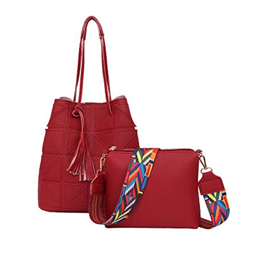 Stile Shopping Moda Nappa 2pcs Con Casual Donna Set Pu Tote Borsa Crossbody Zaino pink Bag Incontri Borsa Vintage Red Impermeabile Lo Per x7apq7B0w