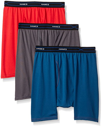 Hanes Mens 3 Pack X Temp Performance Cool Regular Boxer Brief  Assorted  Medium