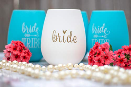 10 Piece Set of Bride Tribe and Bride Silicone Wine Cups, Perfect for Bachelorette Parties, Weddings, and Bridal Showers - Turquoise