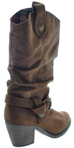 Rocket Dog Sidestep Castaño Tela Mujeres Hi Tire Vaquero Zapatos Botas