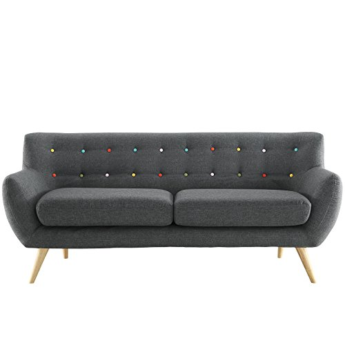 Modway Remark Mid-Century Modern Sofa With Upholstered Fabric In Gray