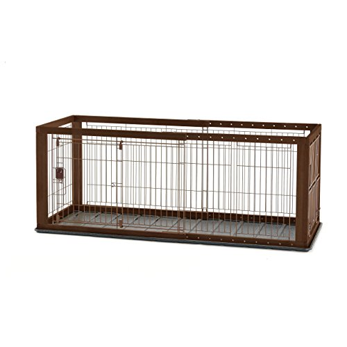 picture of Richell Expandable Pet Crate with Floor Tray, Small, Dark Brown