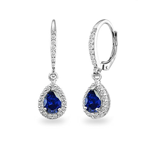 Sterling Silver Created Blue Sapphire Teardrop Dangle Halo Leverback Earrings with White Topaz Accents